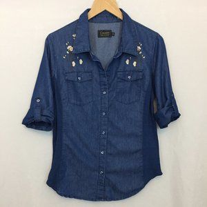EUC Cavalini Chambray Flower Embroidered Shirt M